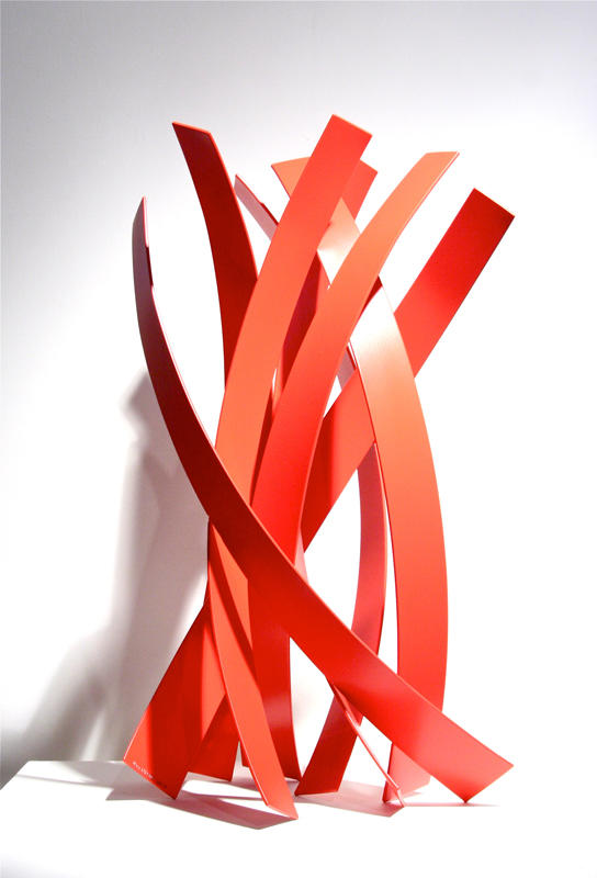 RED TIDE STUDY, 2012, steel with powdercoat, 24H x 12W x 12D