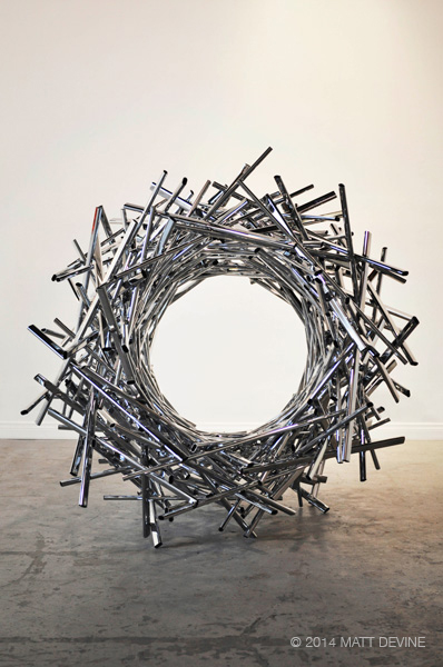 WIDE OPEN, 2014, steel with chrome, 52H x 56W x 57D