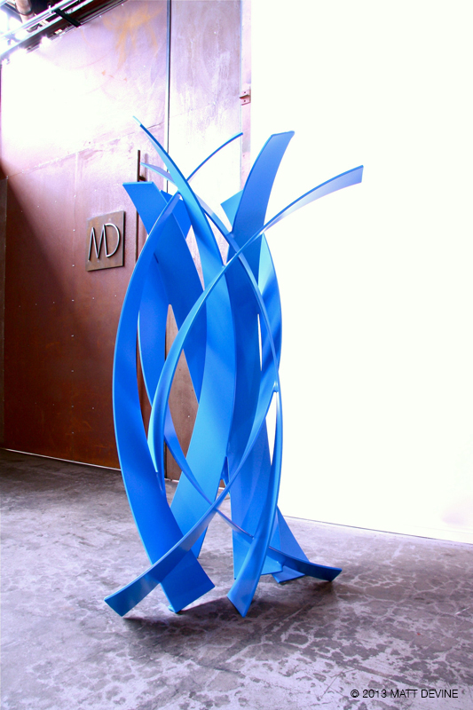 FOUR TIMES FOUR, 2013, aluminum with blue powdercoat, 79H x 42W x 37D