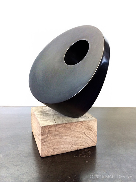MINI BALANCE #3, 2015, 12Hx6Wx8D, steel with patina and reclaimed wood DISCONTINUED