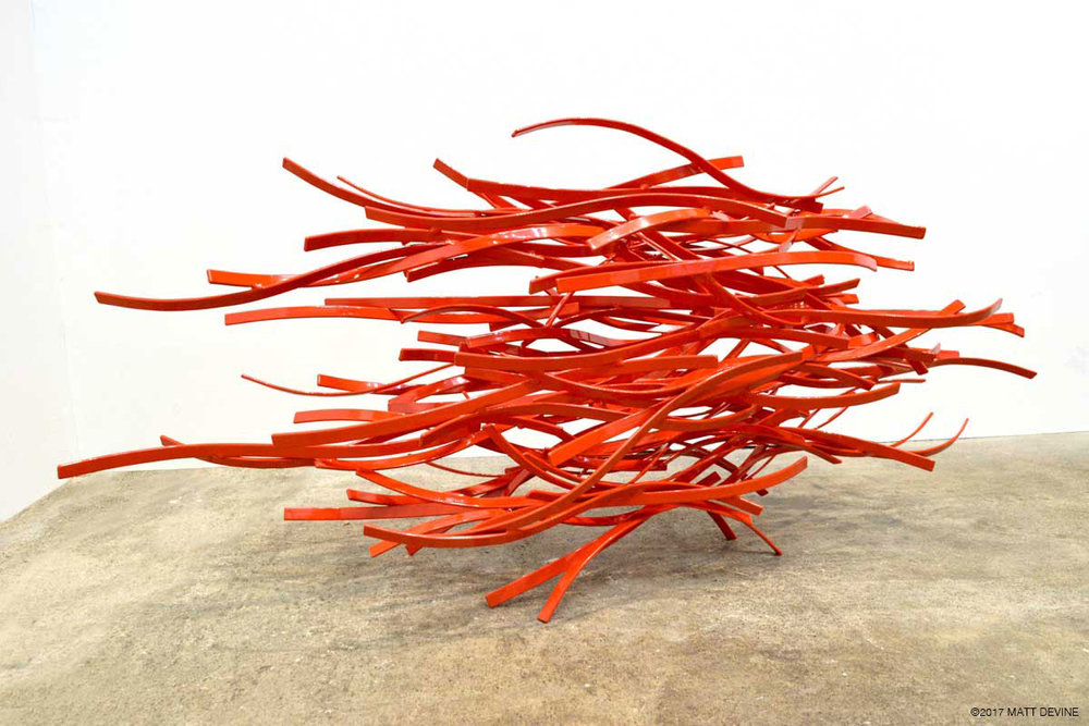 CINDER #2, 2011, steel with powdercoat, 20H x 49W x 14D