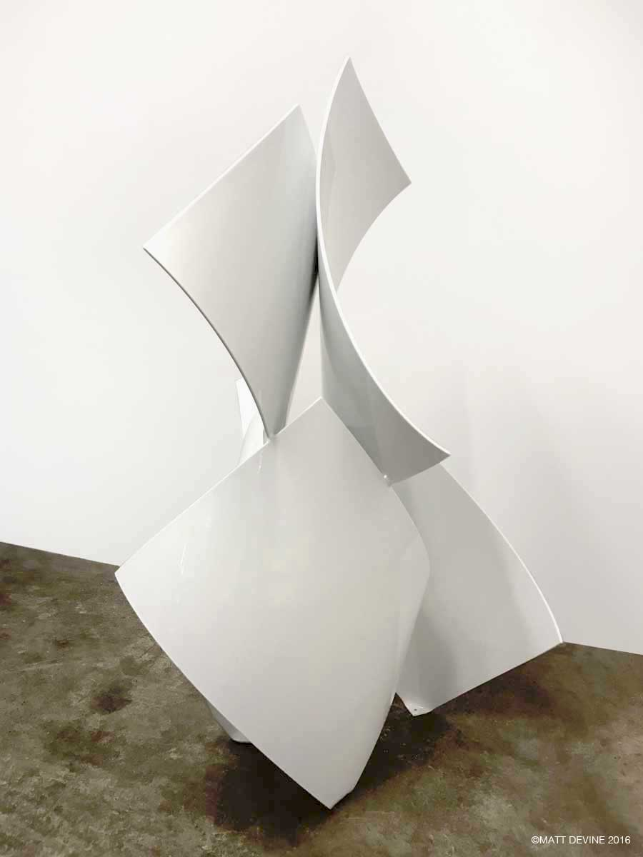 EARLY RISE, 2017, aluminum with white powder coat, 59H X 33W X 28D