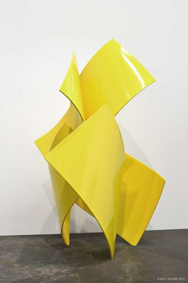 STEP TWO, 2016, aluminum with yellow powdercoat, 28H x 15W x 15D