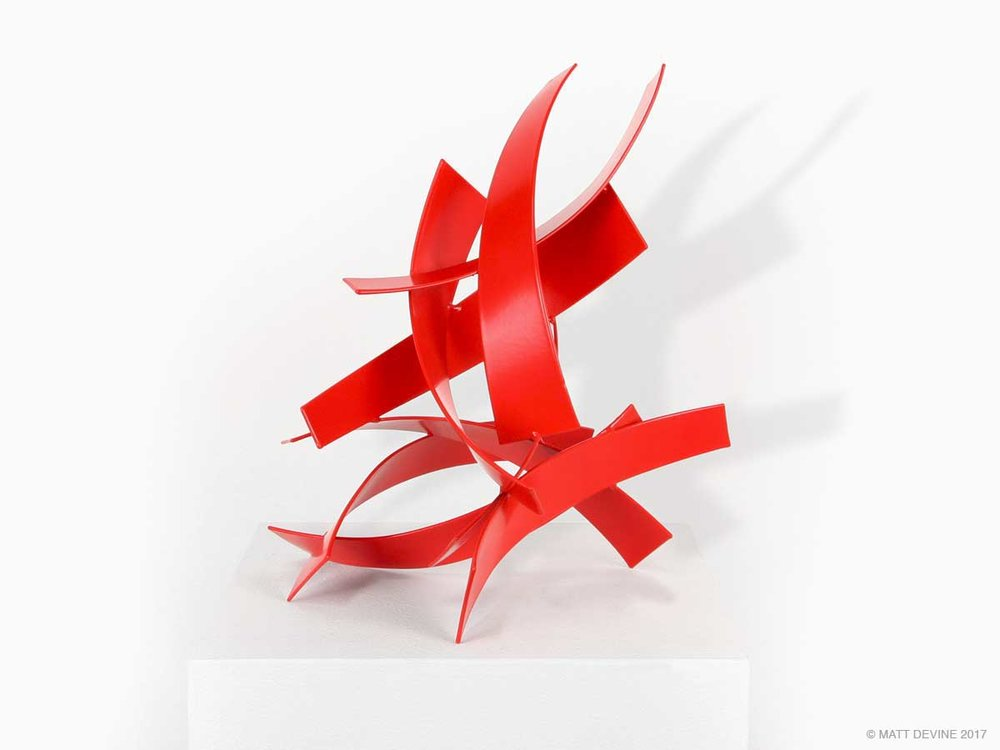 ONE NINE ONE STUDY, 2013, steel with red powdercoat, 12H x 10W x 8D