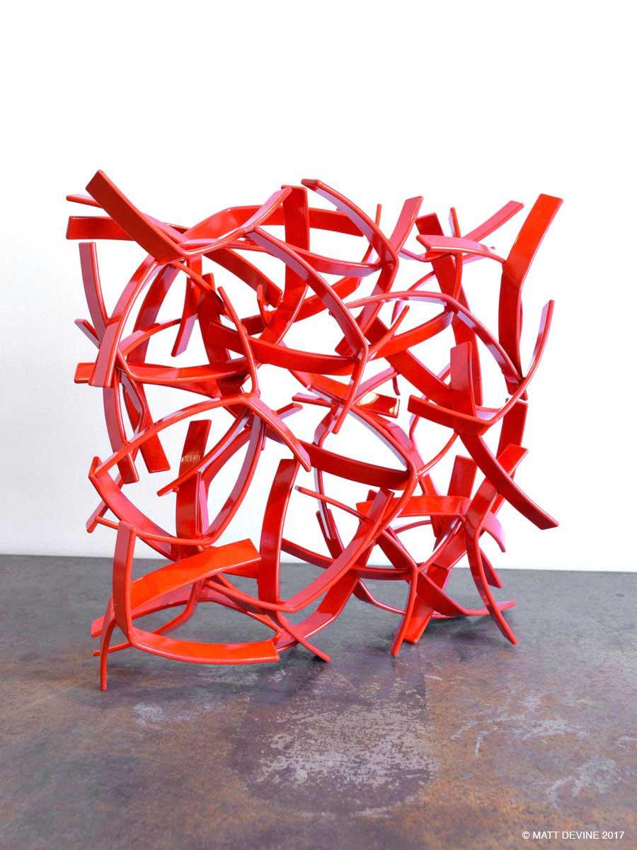STUDIO STUDY IN RED, 2017, steel with powdercoat, 12H x 12W x 4D