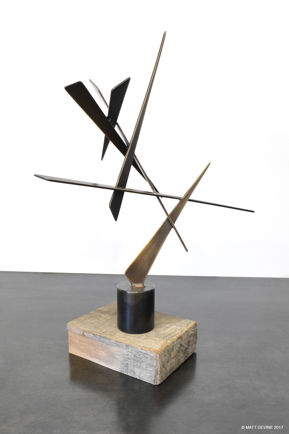EDWARD #9, 2015, bronze with steel and wood base, 16H x 13W x 6D