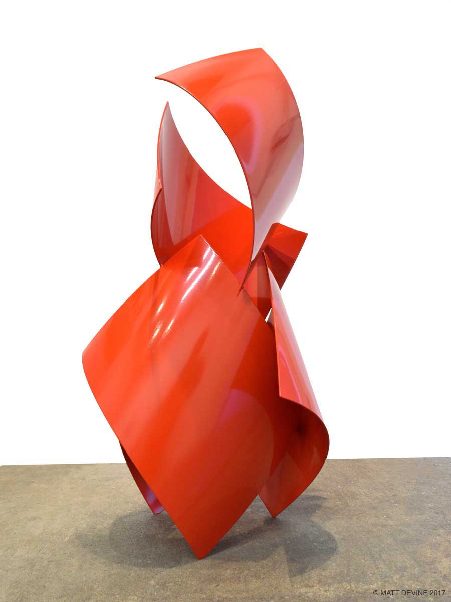 TURN THE PAGE, 2017 steel with red powdercoat, 39H x 21W x 20D