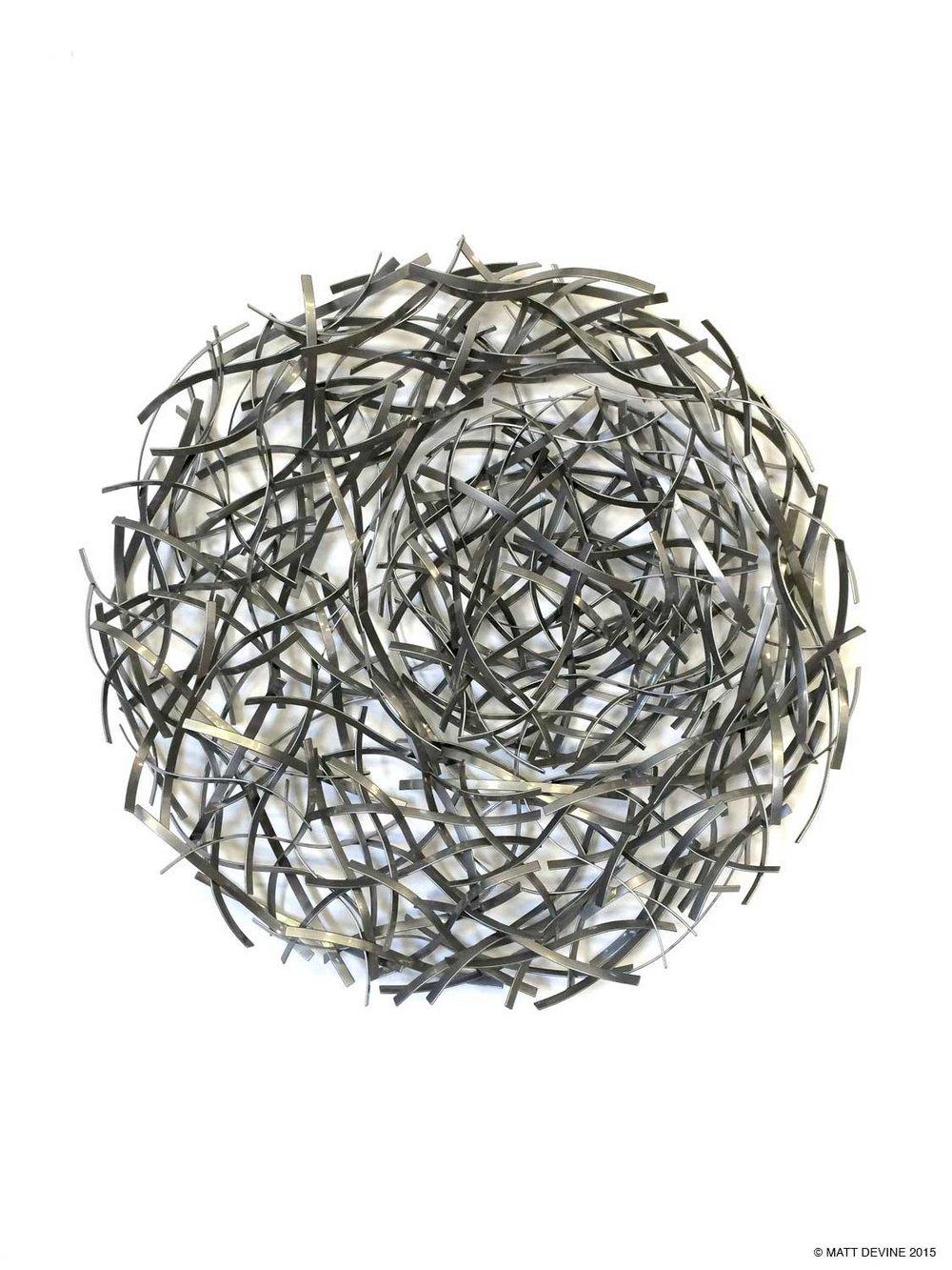 LUNA, 2015, steel with chrome powdercoat, 48H x 48W x 6D