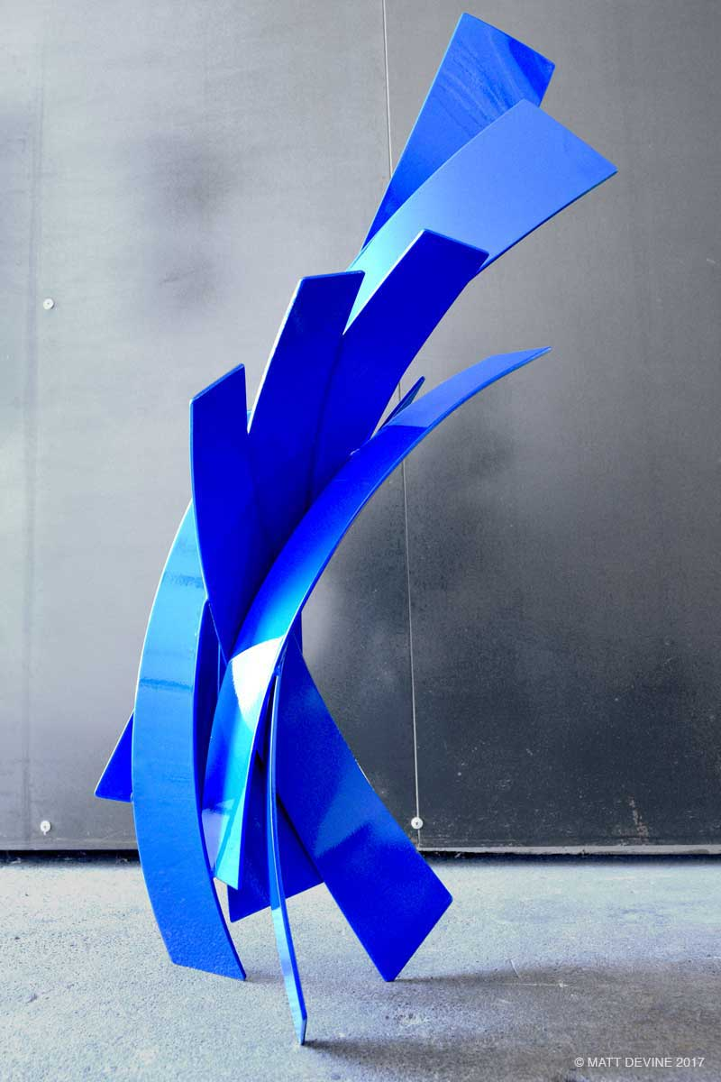 RISE AND SHINE STUDY, 2017, steel with blue auto paint, 25H x 14W x 10D