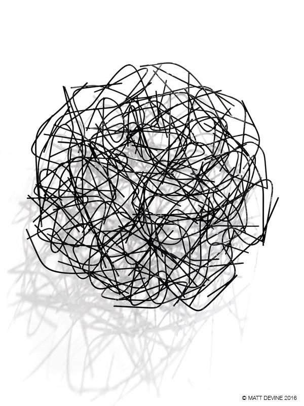 OMAR #1, 2016, 30H x 30W x 6D, steel wire with powdercoat,