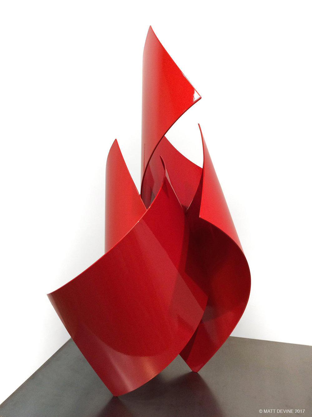 STEP ONE, 2015, steel with red auto paint, 35H x 17W x 19D