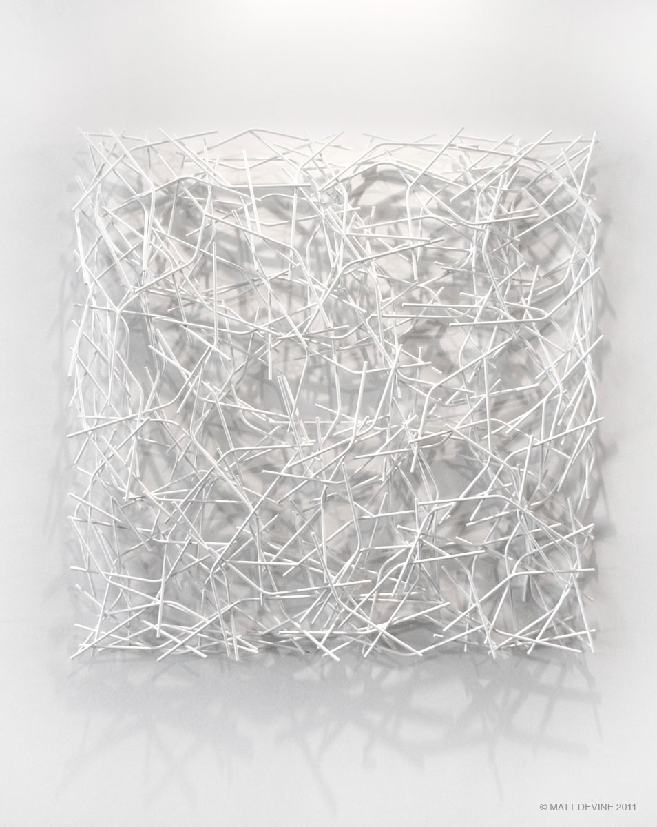 LINEAGE, 2011, steel with white powdercoat, 48H x 48H x 4D