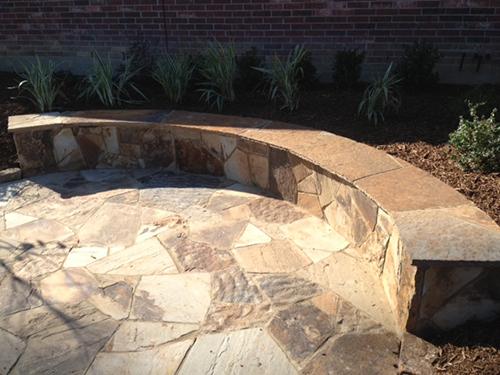Beautiful Custom Stone Seating Wall Area Outdoor Design Build