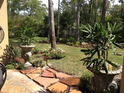 Flagstone Planters Palms Landscape Installation The Woodlands Back