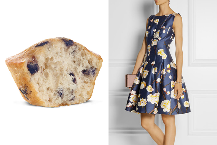 For those not-yet-fall-weather weddings, channel two iconic figures: the mini muffin and Oscar de la Renta. Shop this looq