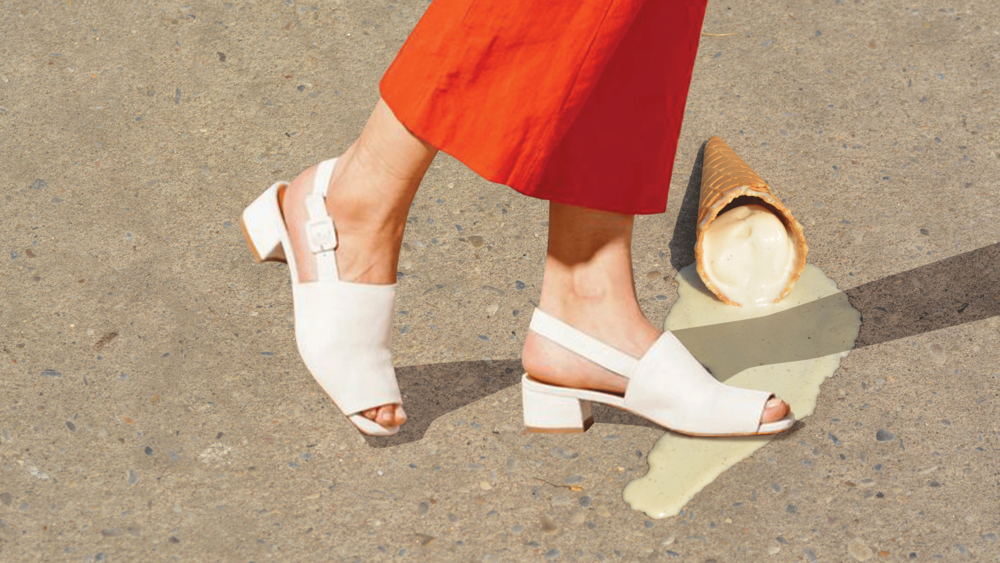 Cream colored mules made even creamier. YUM!