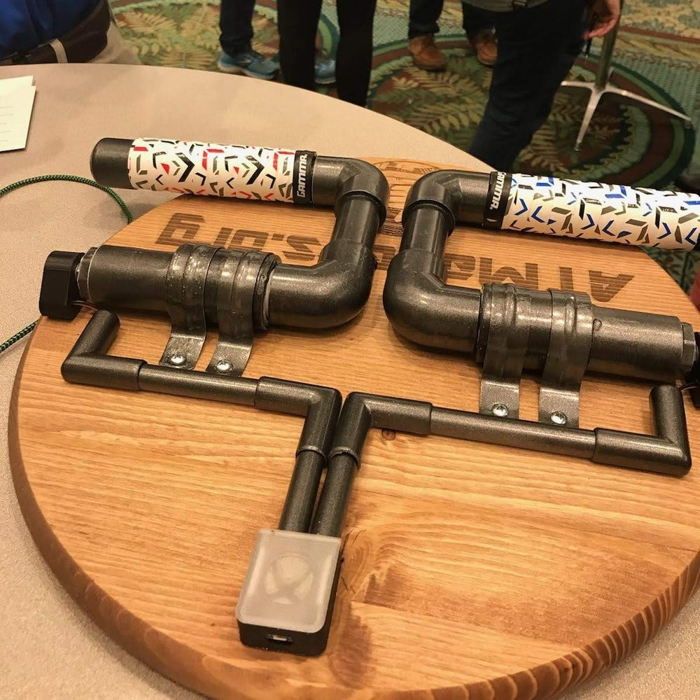 A pump style controller for hands is made from PVC pipes and can also be modified for foot access.