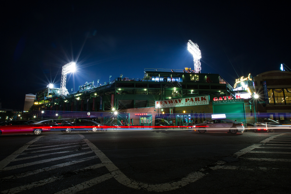 Fenway Park at Night with Light Streak