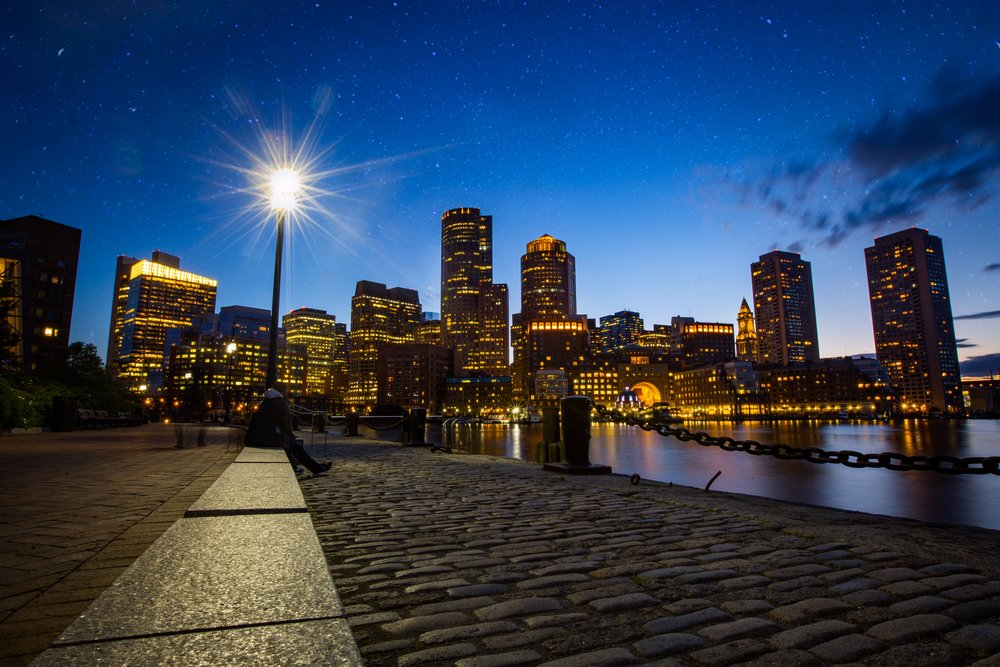 Boston Skyline Over Harbor