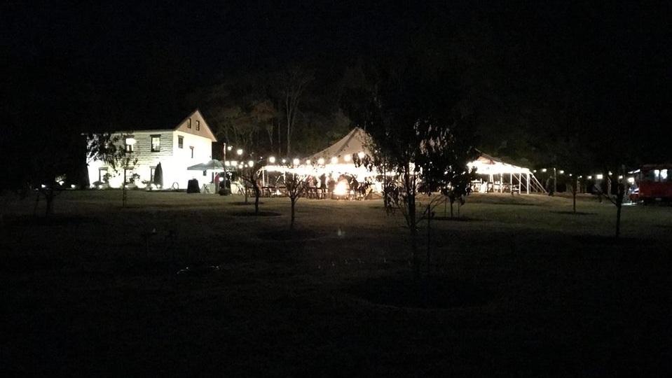 Night-time Shot from Rey Wedding Reception at Black Twig Farms