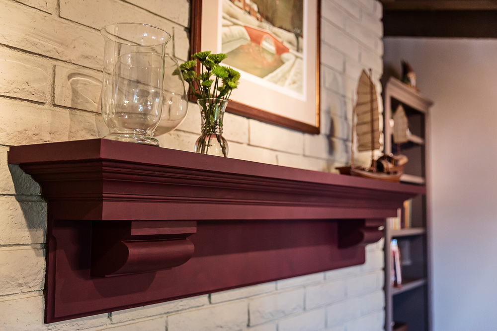 Doesn't this just glow? Antique corbels salvaged from a Pasedena tear-down inspired this unique mantel piece. The artist-owner chose a rich hue for the finish.