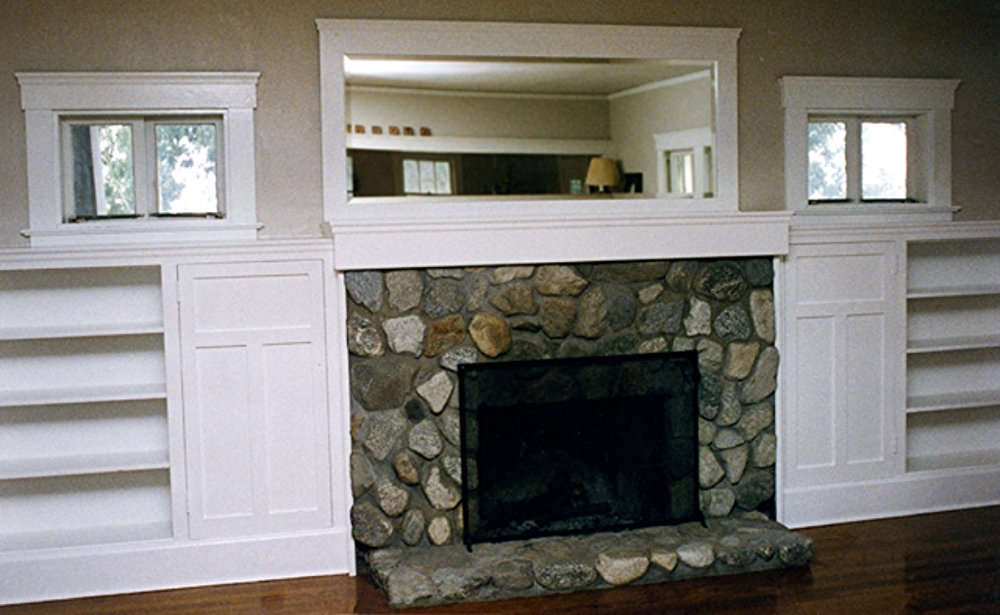 "A renovation led to a new stonework hearth in this Redlands Craftsman (formerly a sanitarium). A new mantel and mirror matches the original woodwork. ""We've gotten so many compliments!"""