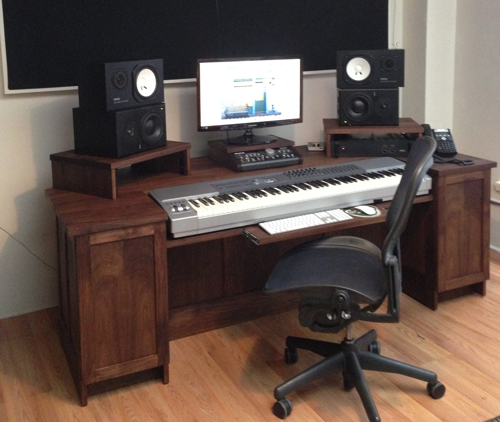 Walnut Workstation Desk With Cabinets: Storefront Music