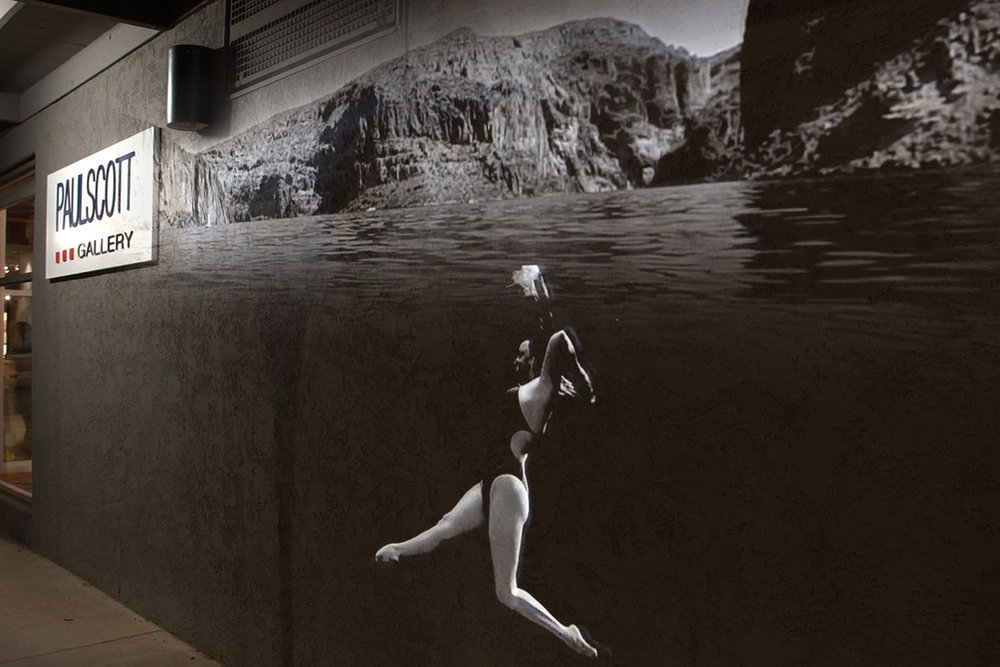 underwater synchronized swimmer art arizona landscape projection