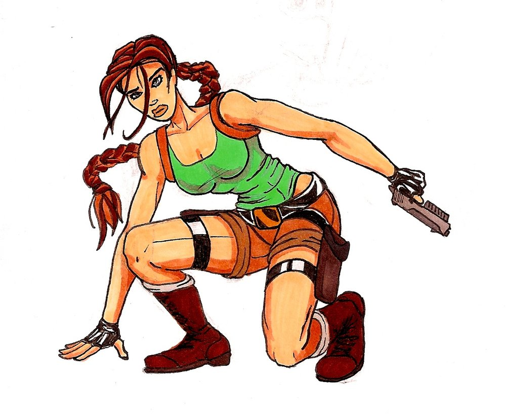 This might be my first drawing of Croft. Classic, no nonsense, drawn with markers and inks.