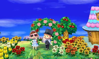"Fun fact, my wife and I planned a ceremony and got ""married"" in her town of Treebon. (We dressed up and took a screenshot under her flower arch)"