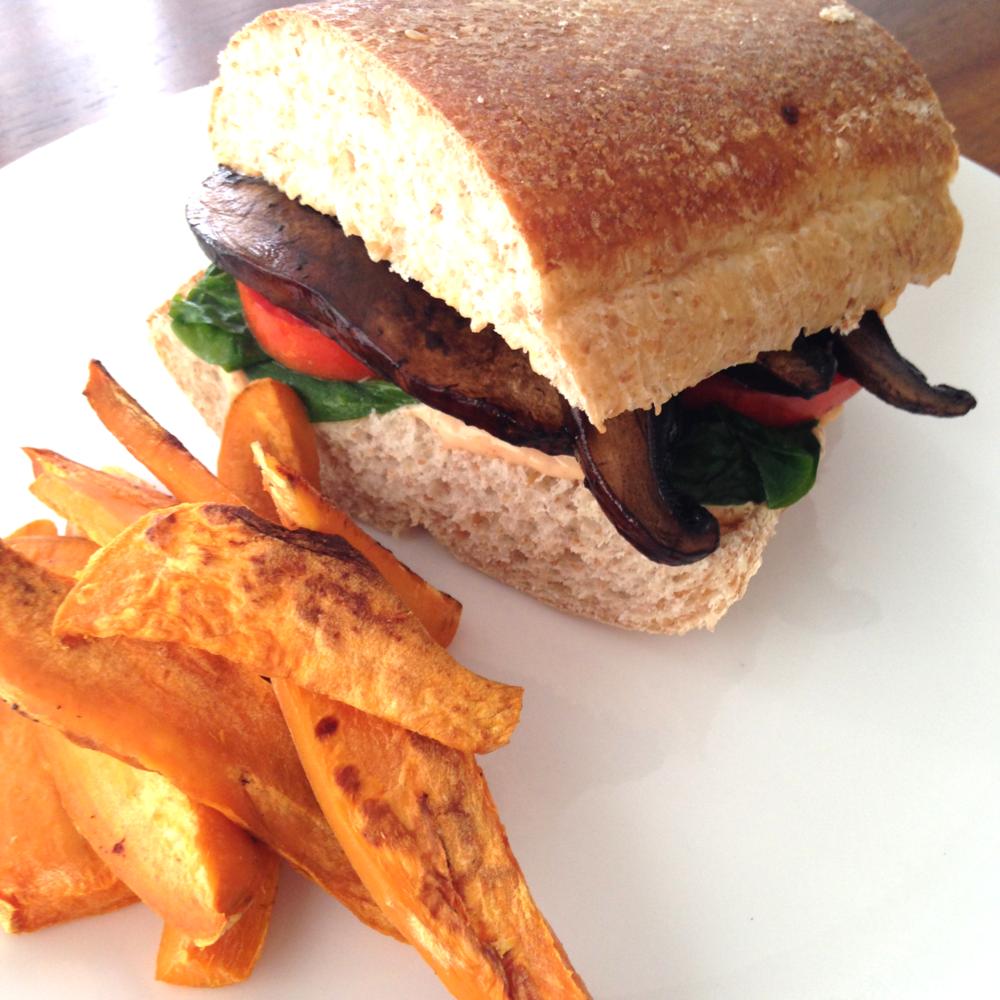mushroom sandwich recipe sweet potato fries recipe