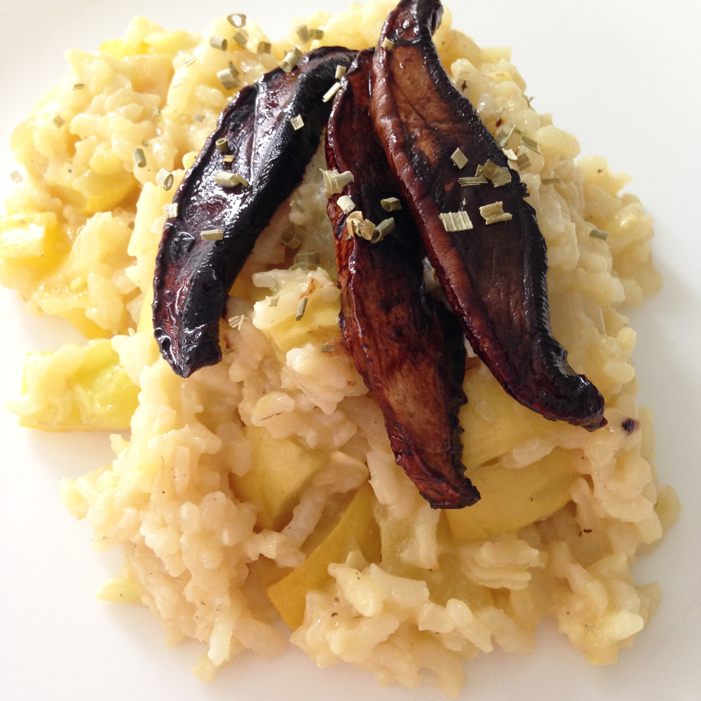 Marinated Mushrooms with Squash Risotto Recipe