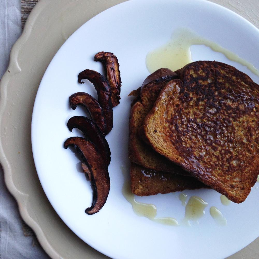 Vegan French Toast with Portobello Bacon