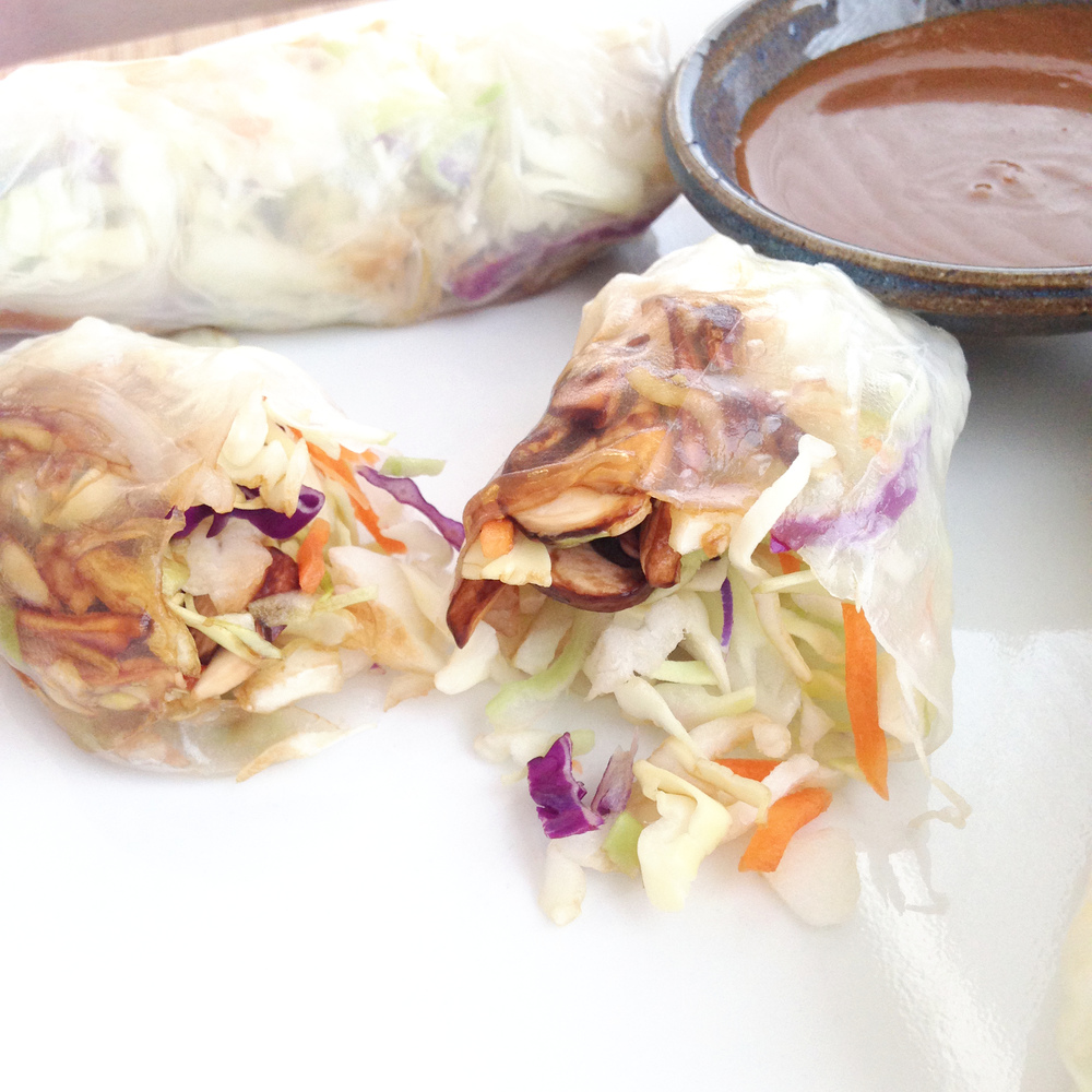 Veggie Spring Rolls with Tangy Peanut Dipping Sauce