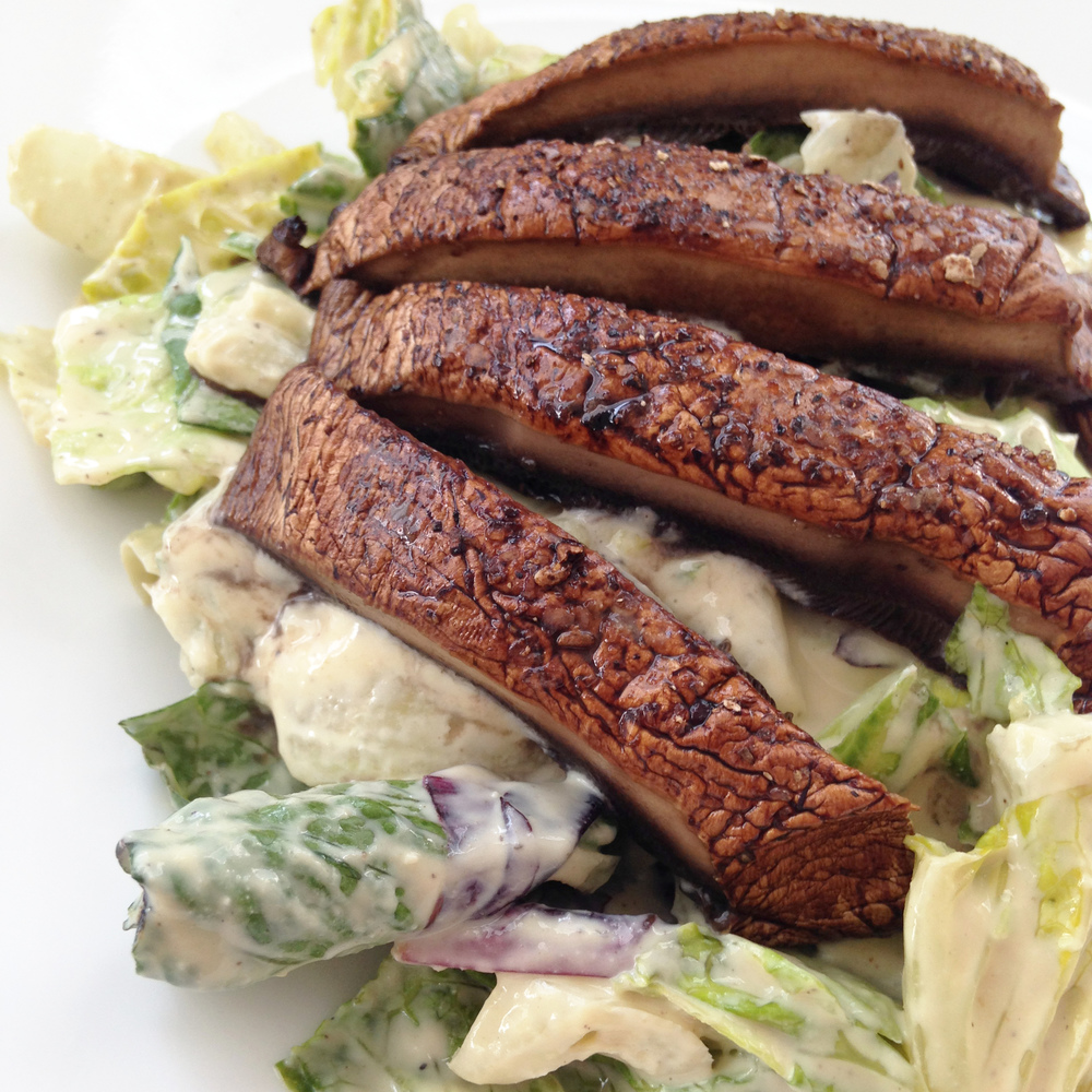 Vegan Caesar Salad with Mushroom Steak
