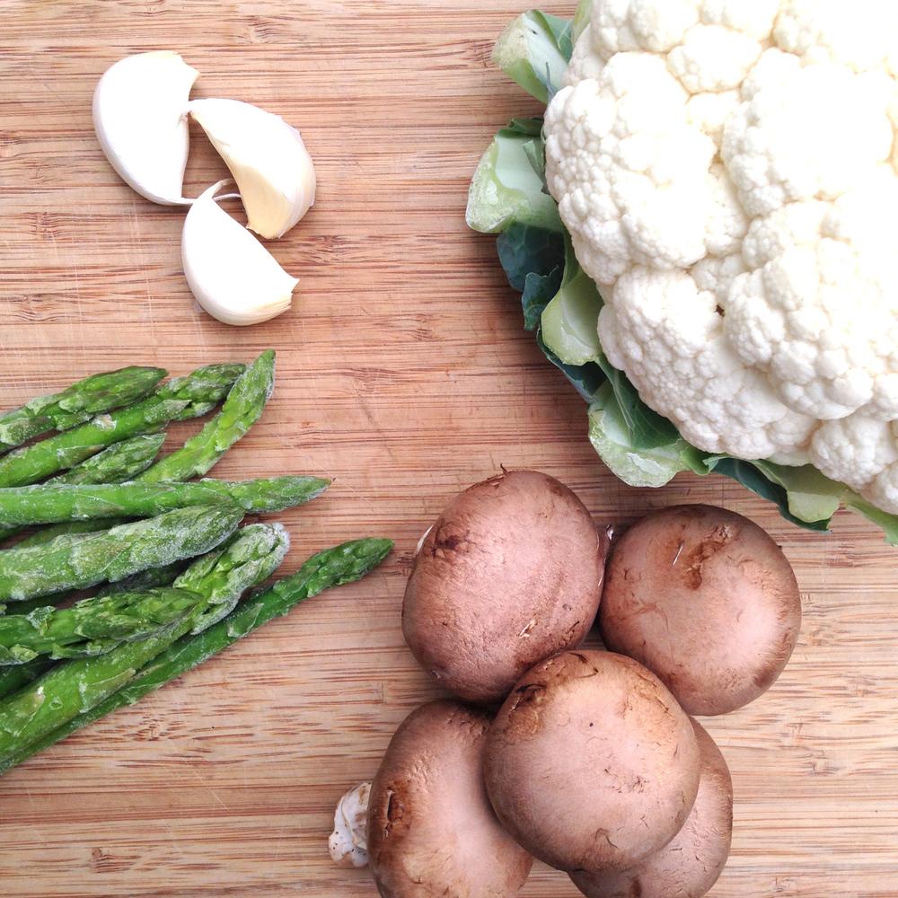 Roasted Veggies and Cauliflower Rice