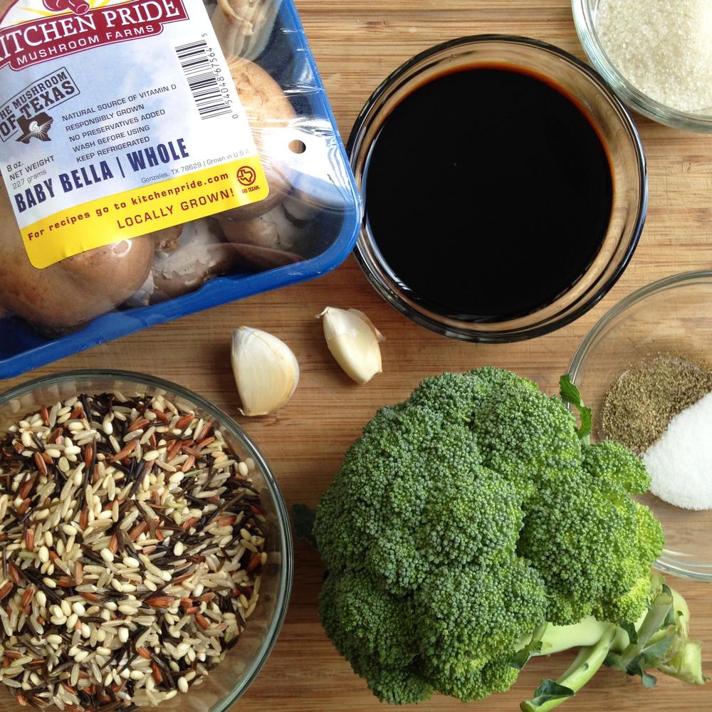Balsamic vingerette mushroom rice