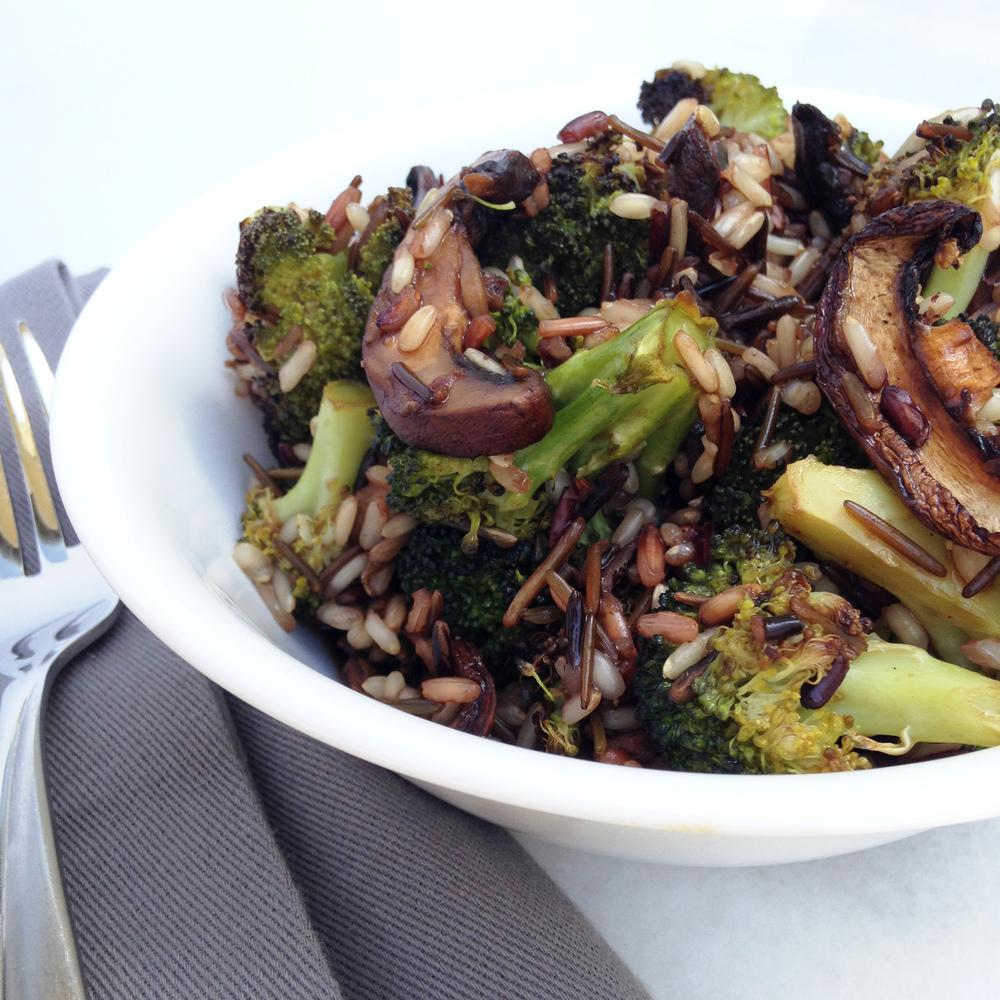 roasted broccoli and mushroom rice