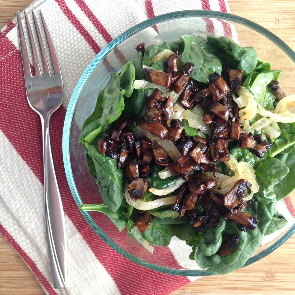 "Spinach Salad with Hot ""Bacon"" Dressing"