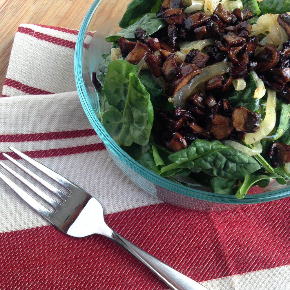 "Spinach Salad with Hot ""Bacon"" Dressing Recipe"