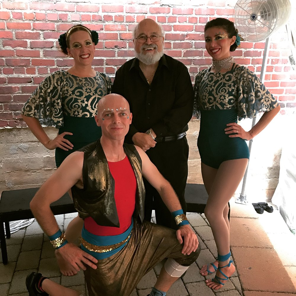 We played a rehearsal dinner at the Lebanese restaurant, Sitti  in Raleigh, NC, for Bill and Lori in August 2017. The emphasis was on the exotic - gypsy violin and tangos. Here's Danny with the acrobats and juggler. Lot's of fun and quite unique!