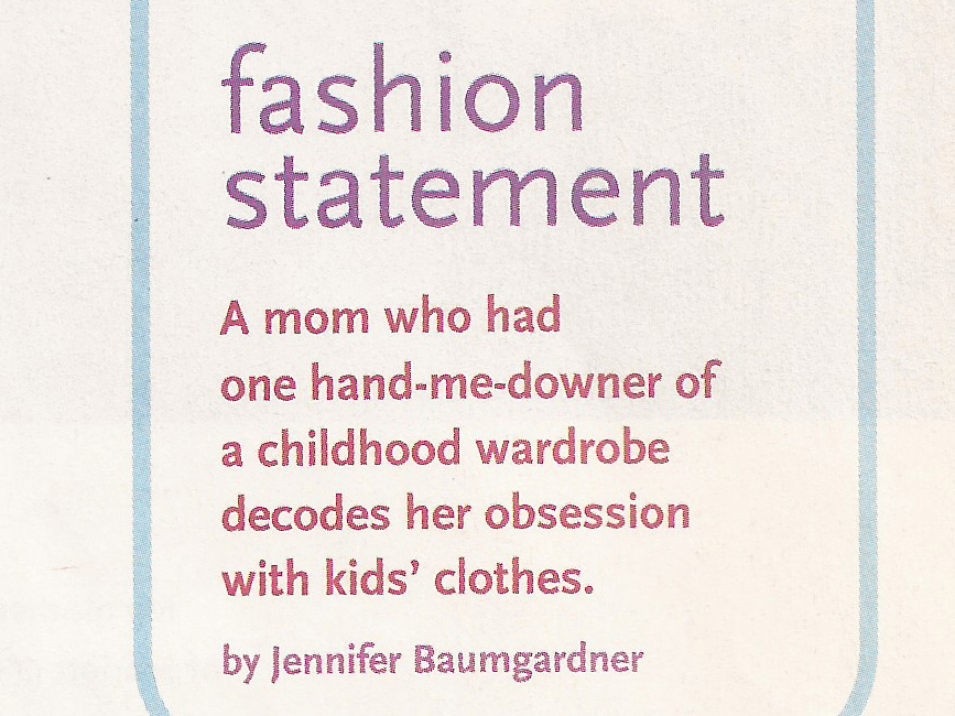 Fashion Statement Wondertime.com, September 2008