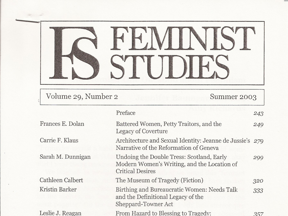 The Number One Question About Feminism Feminist Studies, 2003
