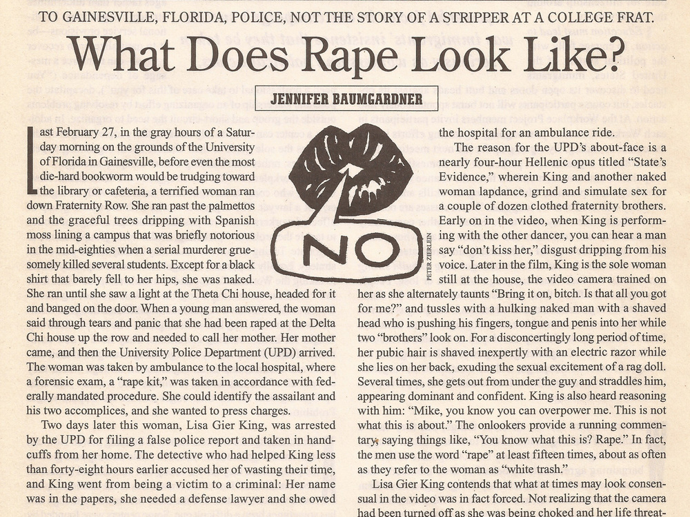 What Does Rape Look Like?  The Nation , 1/3/00