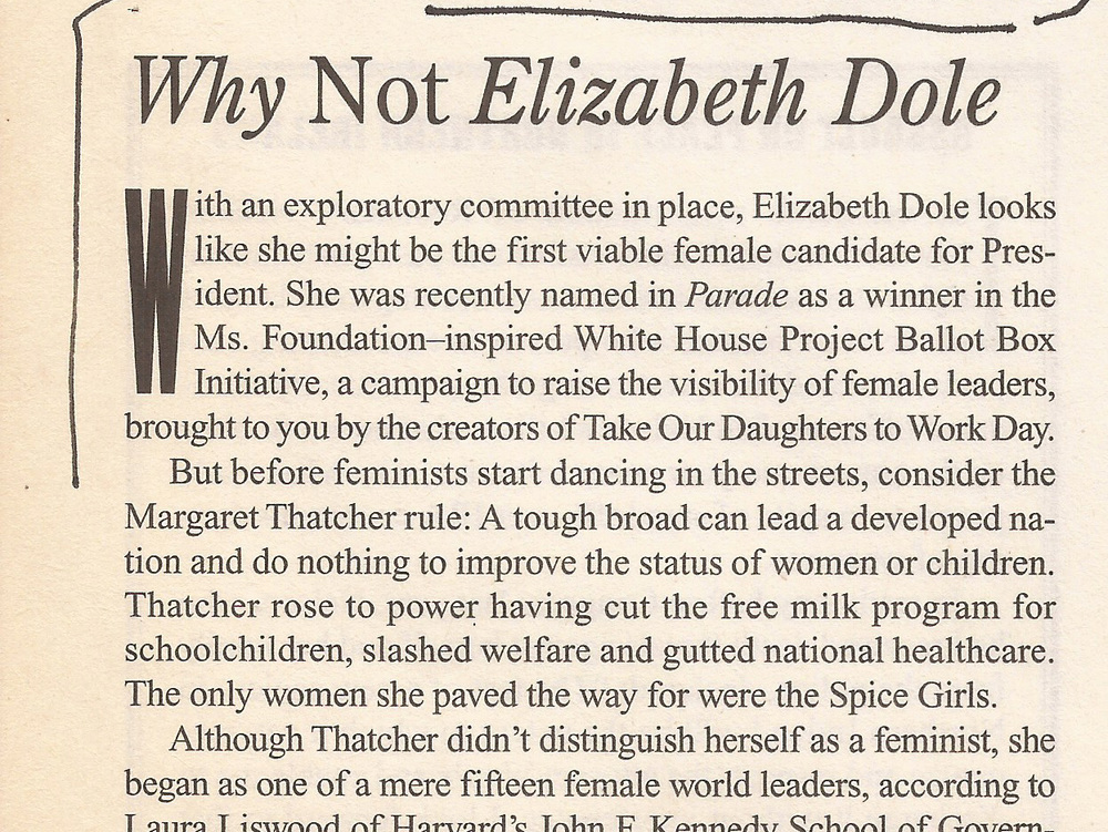 Why Not Elizabeth Dole  The Nation , 4/12/99