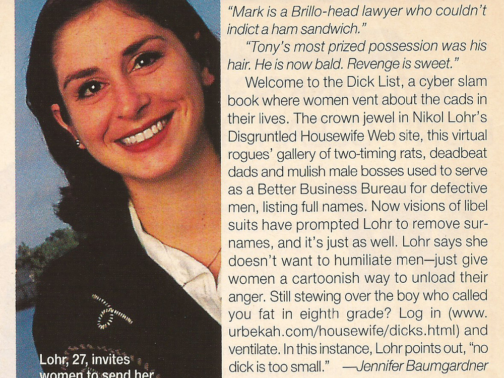 New Way to Vent About Men Glamour Magazine, 1997