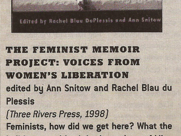 Feminist Memoir Project Review 1997