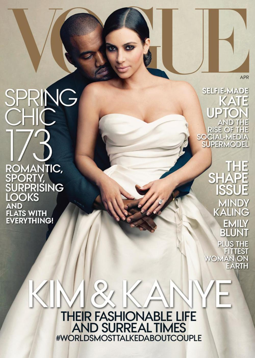 Kim Kardashian and Kanye West grace Vogue's April 2014 Issue - Image Source: Vogue