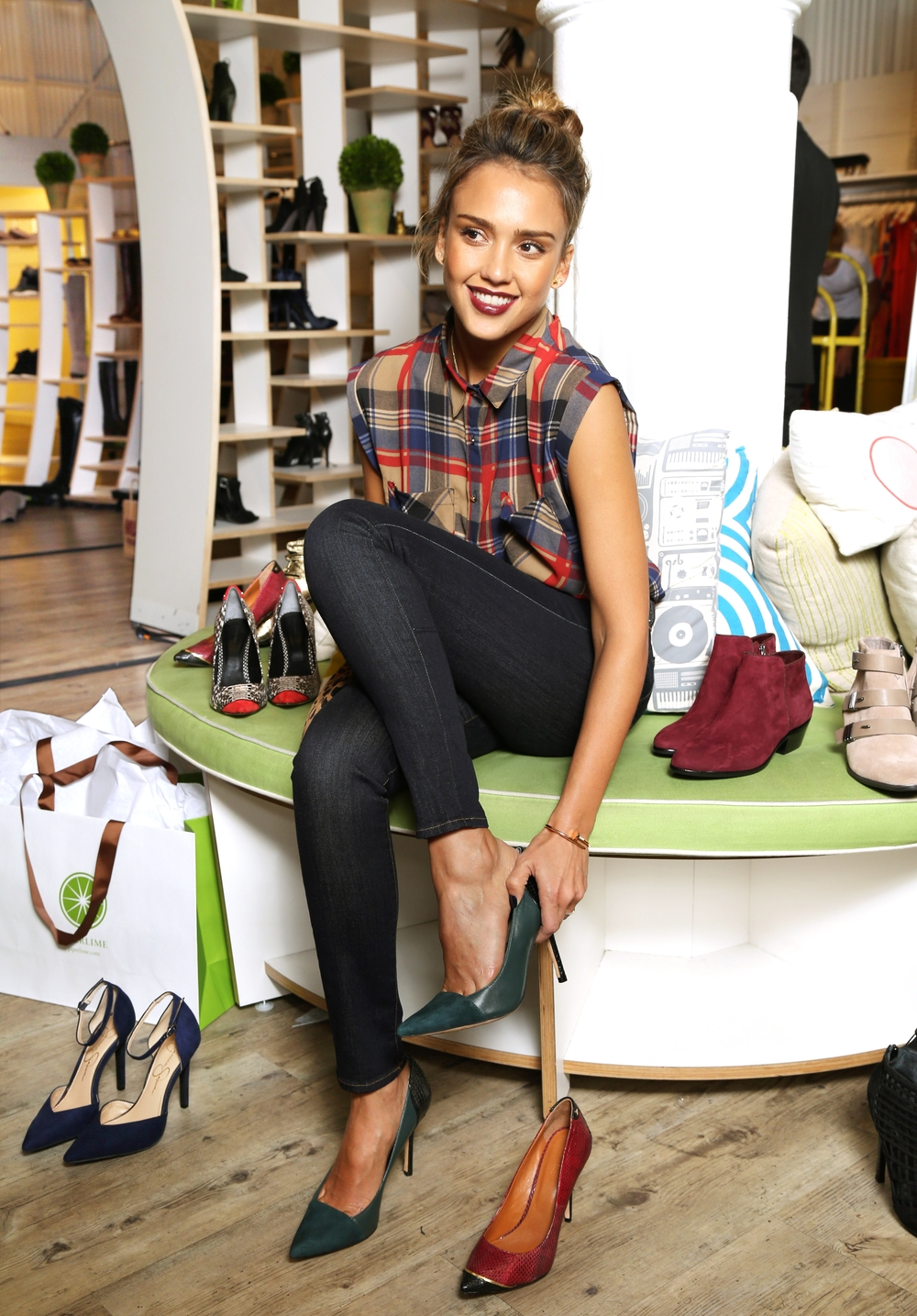 Jessica Alba at Piperlime's flagship store in Manhattan's SoHo shopping district