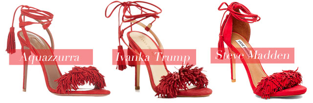 From left to right: Aquazzura's 'Wild Thing', Ivanka Trump 'Hettie' and Steve Madden 'Sassey'